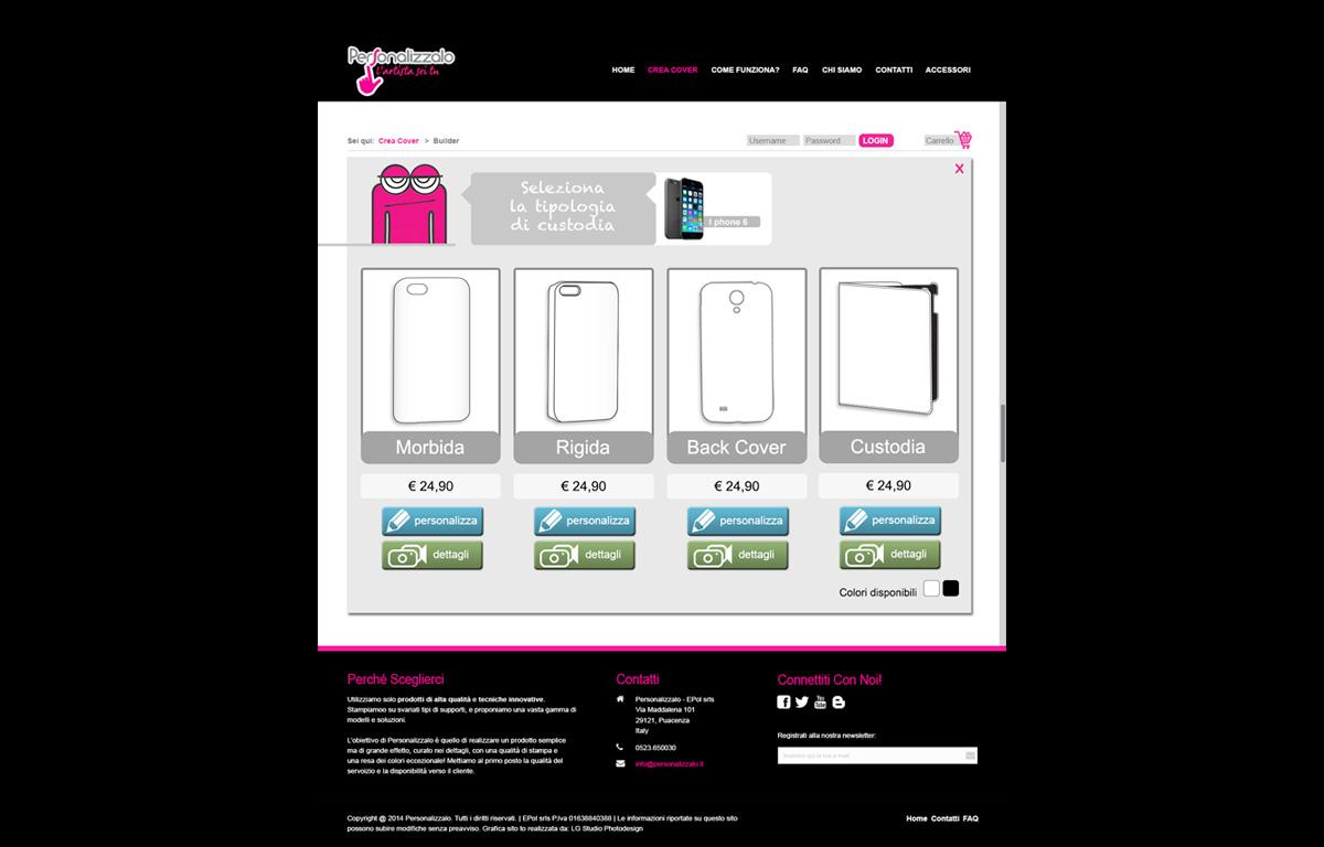 Configuratore di prodotto per personalizzare cover di cellulari