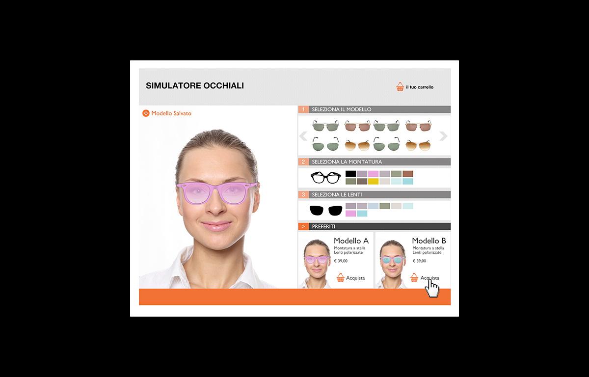 configuratore di prodotto per personalizzare gli occhiali